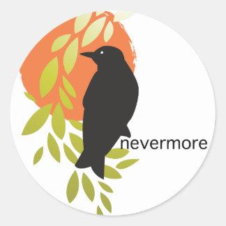Nunca más - cuervo y luna por el Poe Pegatina Redonda