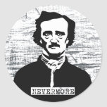 Nunca más Edgar Allan Poe Etiqueta Redonda