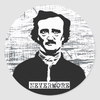 Nunca más Edgar Allan Poe Pegatina Redonda