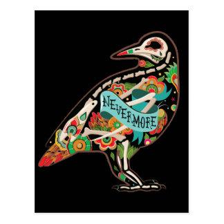 Nunca más postal del cuervo del cráneo del azúcar