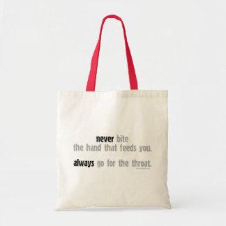Nunca muerda la mano… bolsa tela barata