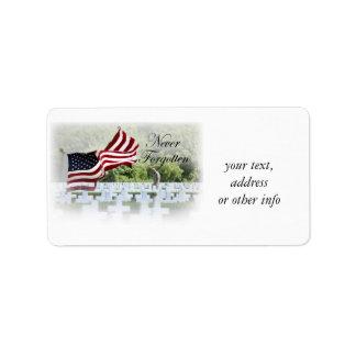 Nunca olvidado - Memorial Day Etiquetas De Dirección