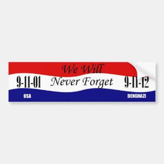 Nunca olvidaremos a la pegatina para el parachoque pegatina de parachoque