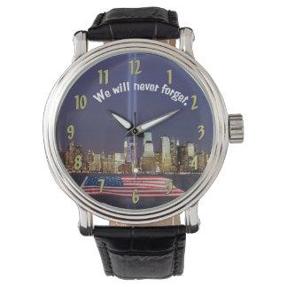 Nunca olvidaremos el tributo 9-11 relojes de mano