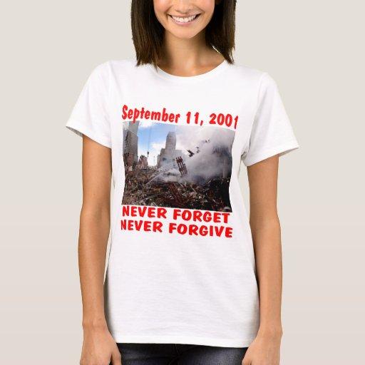 Nunca olvide 11 de septiembre de 2001 nunca playera