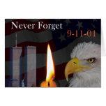 Nunca olvide 9-11-01 tarjeta de felicitación