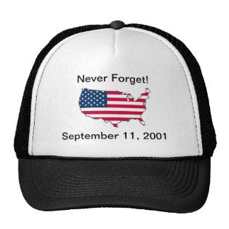 Nunca olvide 9/11 gorra conmemorativo