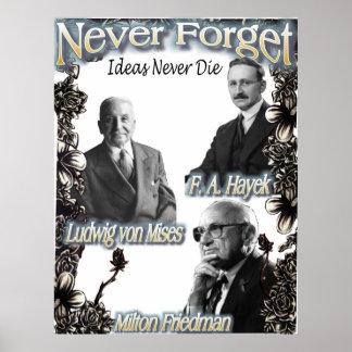 Nunca olvide a los austriacos Hayek, Friedman, Mis Póster
