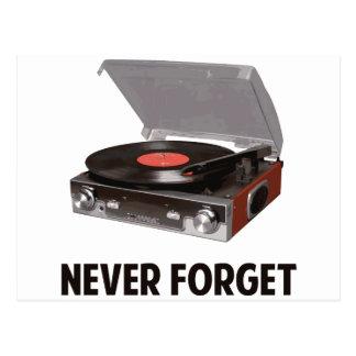 Nunca olvide a los tocadiscos del vinilo postal