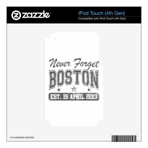 Nunca olvide Boston iPod Touch 4G Calcomanías