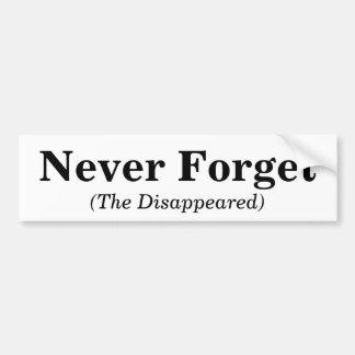 Nunca olvide, (desaparecidos) pegatina para auto
