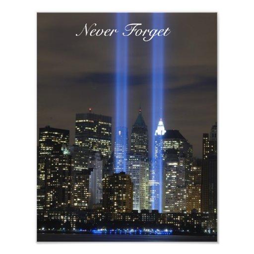 Nunca olvide el 11 de septiembre, impresión de la  fotos