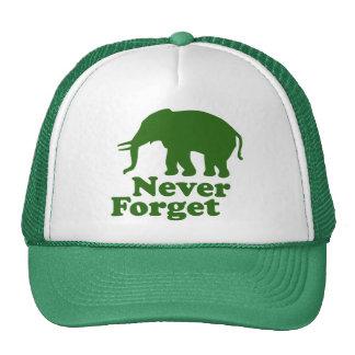 Nunca olvide el elefante divertido de la sátira gorros bordados
