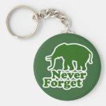 Nunca olvide el elefante divertido de la sátira llavero redondo tipo pin