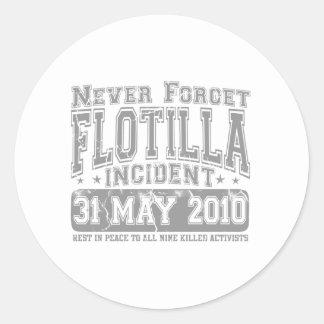Nunca olvide el incidente del flotilla pegatinas redondas