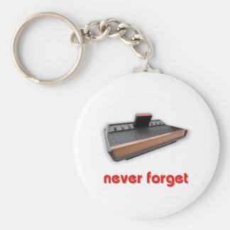 Nunca olvide el juego de la escuela vieja llavero redondo tipo pin