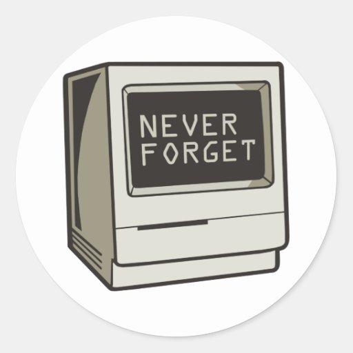 Nunca olvide el ordenador pegatina redonda