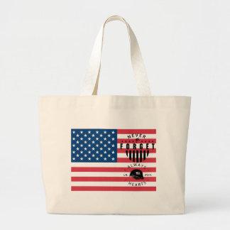 Nunca olvide la bandera americana bolsa de tela grande