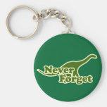 Nunca olvide los dinosaurios llavero redondo tipo pin