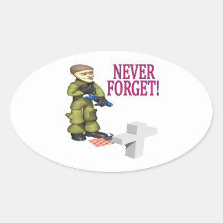 Nunca olvide pegatina ovalada