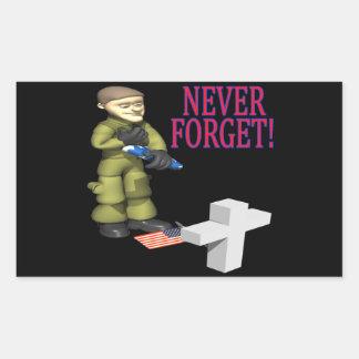 Nunca olvide pegatina rectangular
