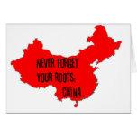 Nunca olvide sus raíces: China Tarjetas