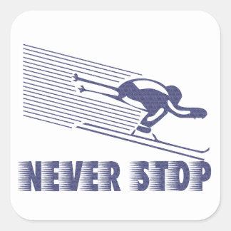 Nunca pare: Esquí Pegatina Cuadrada