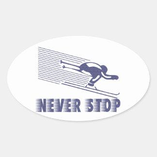 Nunca pare: Esquí Pegatina Ovalada