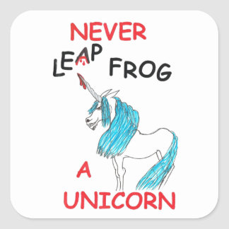 nunca salte a los pegatinas de un unicornio pegatina cuadrada