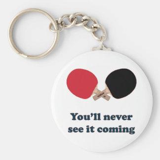 Nunca véalo ping-pong que viene llavero redondo tipo pin
