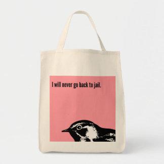Nunca volveré encarcelar bolsa tela para la compra