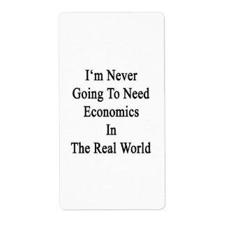 Nunca voy a necesitar la economía en el Worl real Etiqueta De Envío