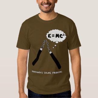 Nunchucks Solve Problems T-Shirt: Brown T-shirt