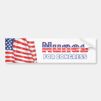 Nunes for Congress Patriotic American Flag Design Car Bumper Sticker