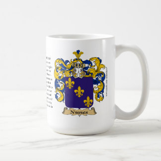 Nunes, the Origin, the Meaning and the Crest Coffee Mug