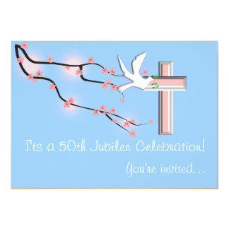 Nuns 50th Jubilee Celebration Invitations Blue