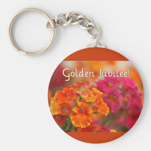 Nuns 50th Jubilee--Floral Design Gifts Basic Round Button Keychain