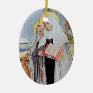 Nuns and a Deer Double-Sided Oval Ceramic Christmas Ornament