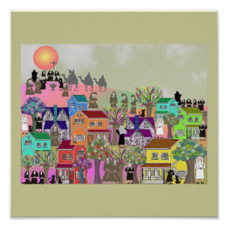 Nuns and Monks Village Art Poster