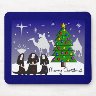 """Nuns Christmas Cards """"Merry Christmas"""" Mouse Pad"""