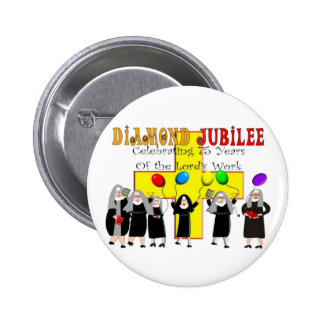 Nuns Diamond Jubilee 75th Year of Service Pinback Buttons
