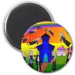 "Nuns ""Flying Nuns"" Whimsical Art 2 Inch Round Magnet"