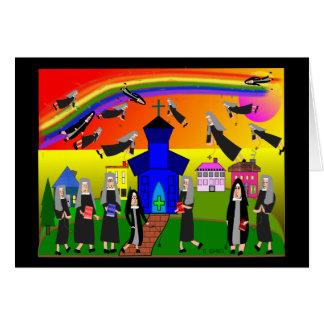 """Nuns """"Flying Nuns"""" Whimsical Art Card"""