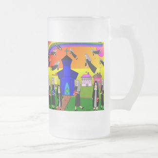"Nuns ""Flying Nuns"" Whimsical Art Frosted Glass Beer Mug"