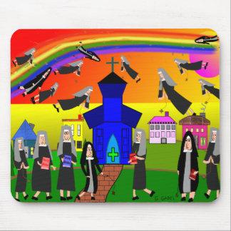 """Nuns """"Flying Nuns"""" Whimsical Art Mouse Pad"""