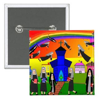 "Nuns ""Flying Nuns"" Whimsical Art Pinback Button"