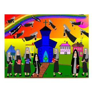 """Nuns """"Flying Nuns"""" Whimsical Art Postcard"""