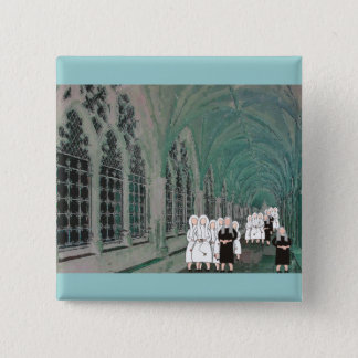 Nuns in the Westminster Abbey Cloister Button