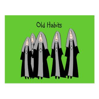 "Nuns ""Old Habits"" Hilarious Nun Gifts Post Card"