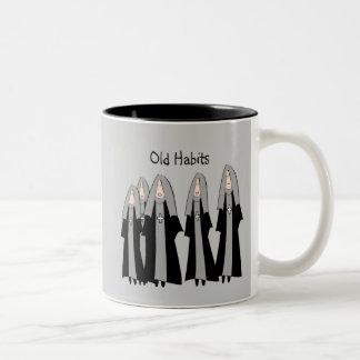 "Nuns ""Old Habits"" Hilarious Nun Gifts Two-Tone Coffee Mug"